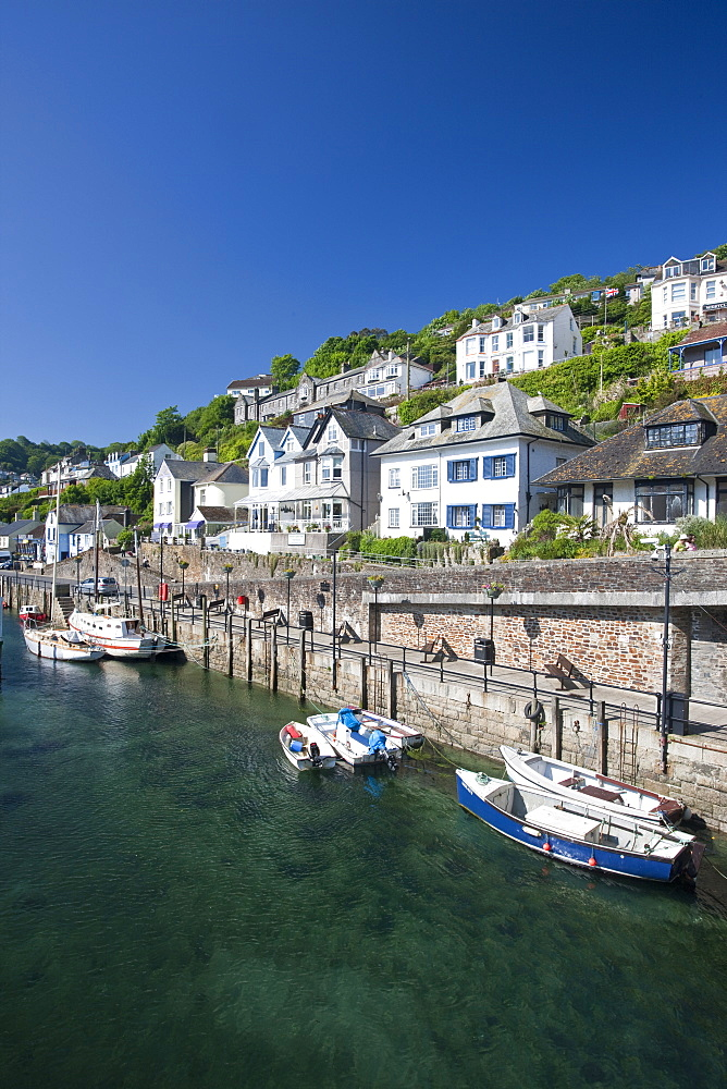 Riverside properties at Looe, Cornwall, England, United Kingdom, Europe - 835-15
