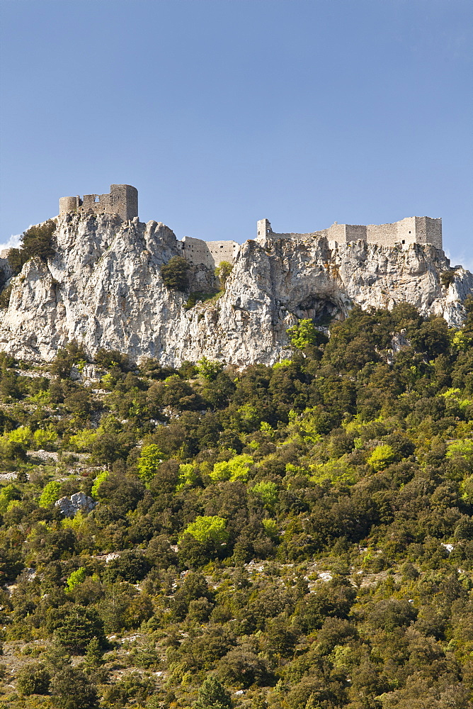 View of the Cathar castle of Peyrepertuse in Languedoc-Roussillon, France, Europe - 835-37