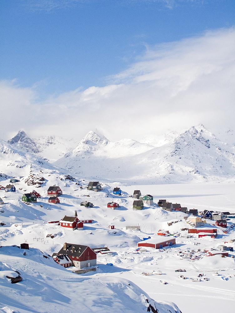View in Tasiilaq village, East Greenland, Polar Regions - 836-74