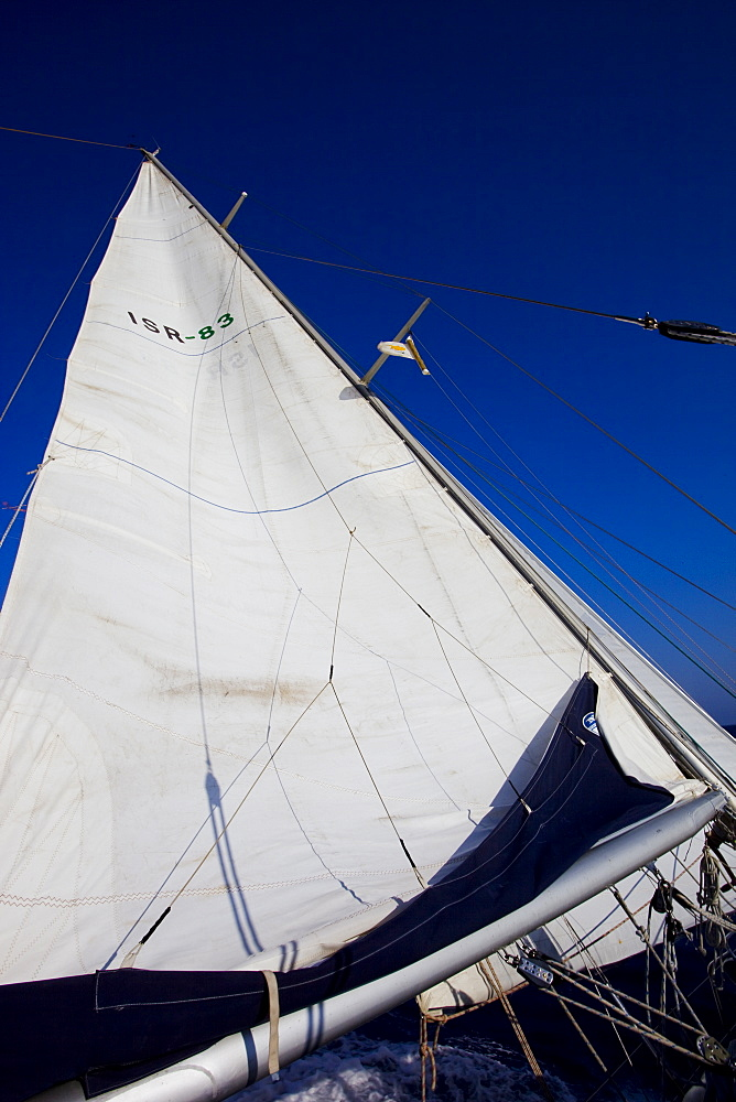Sail boat cruising on the Mediterranean sea - 837-1054