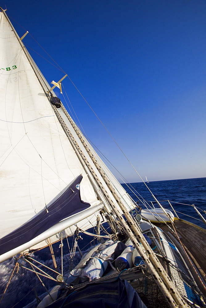 Sail boat cruising on the Mediterranean sea - 837-1056