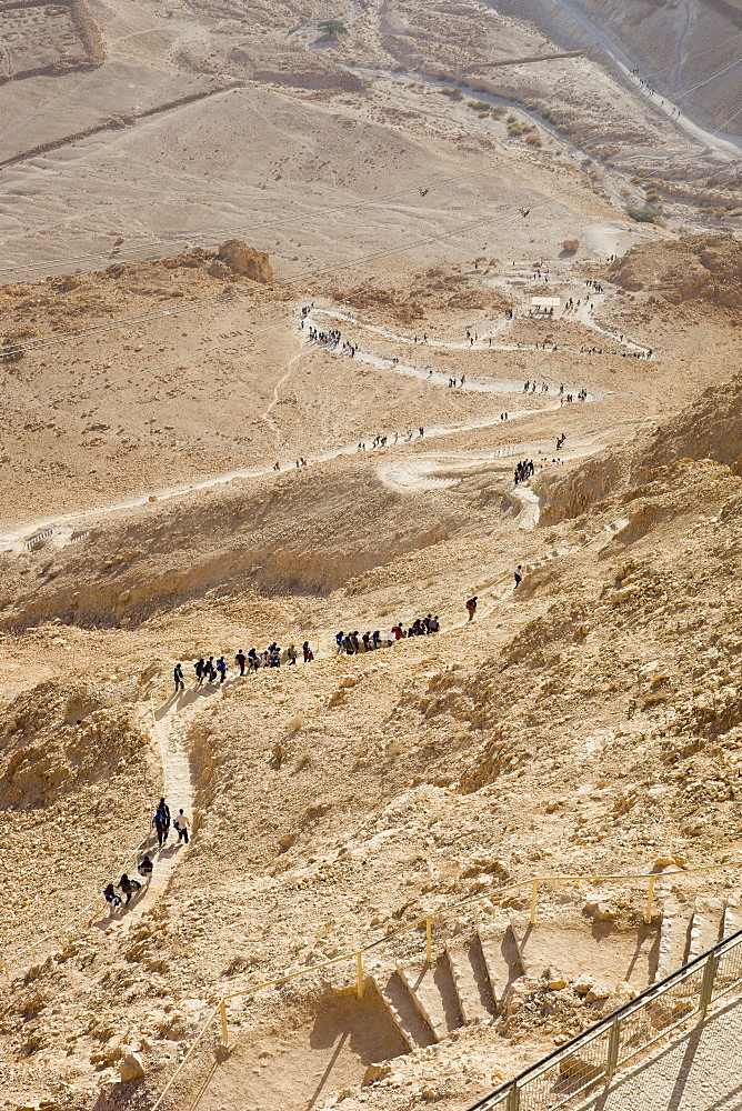 Serpent path leading to the archeologic site of Masada in the Judean desert, Israel
