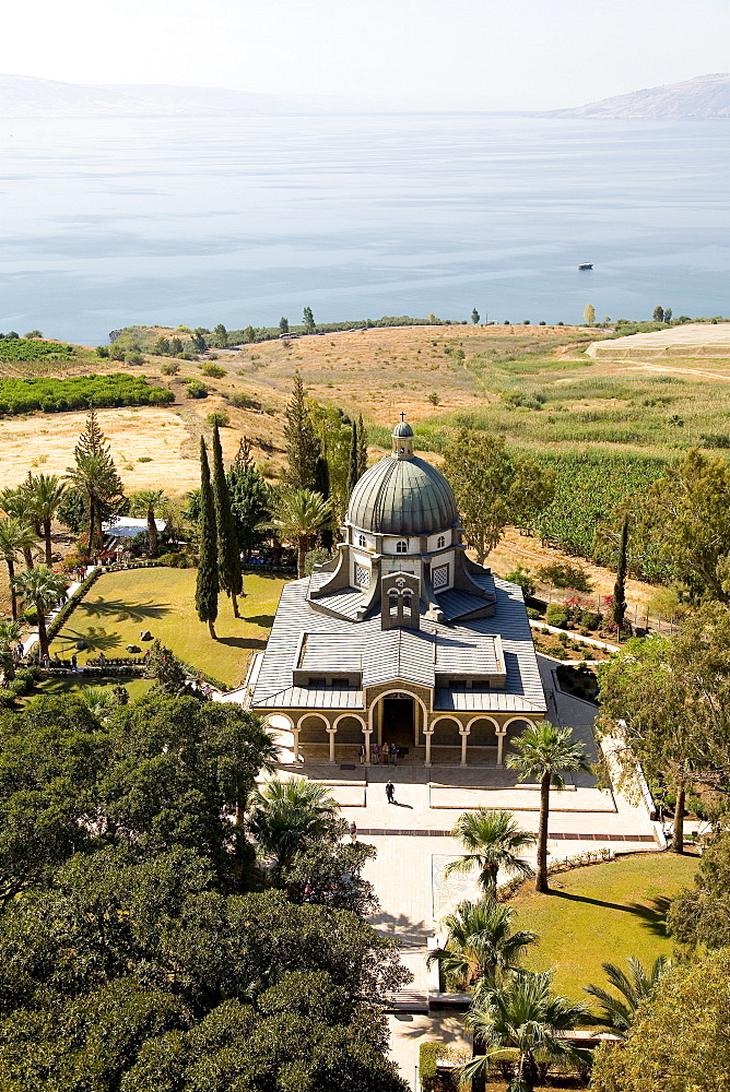 Aerial church of beatitudes in the Sea of Galilee, Israel