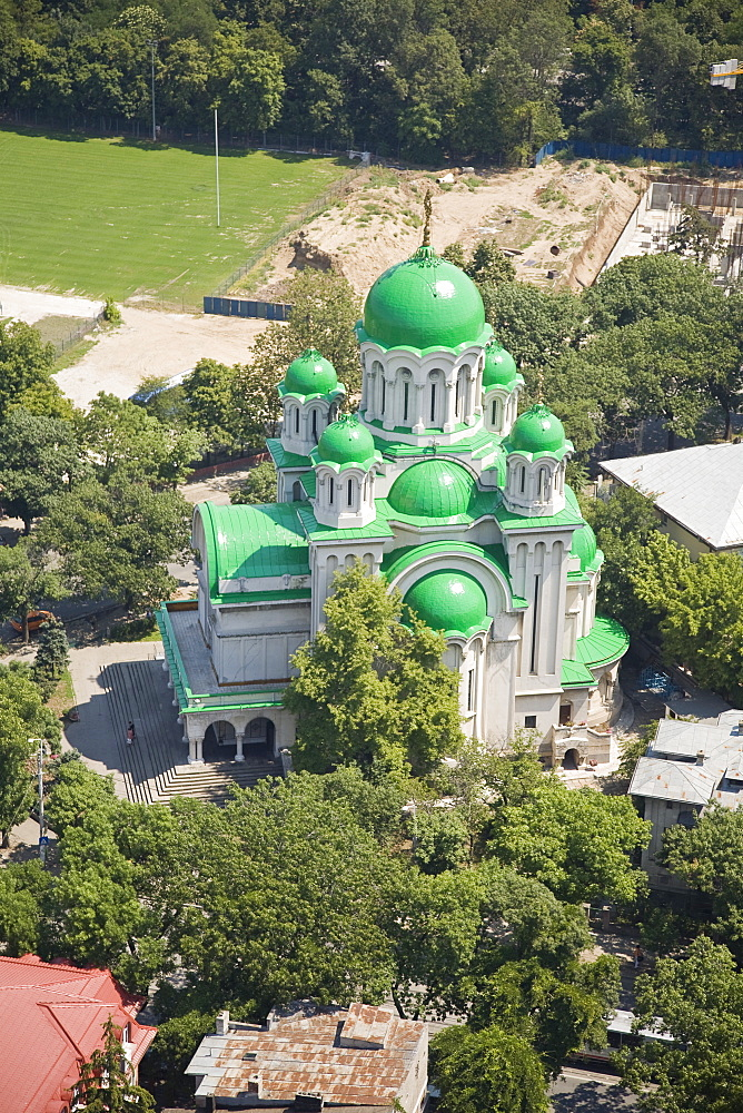 Aerial photograph of a Romanian church in Bucharest Romania, Romania - 837-308