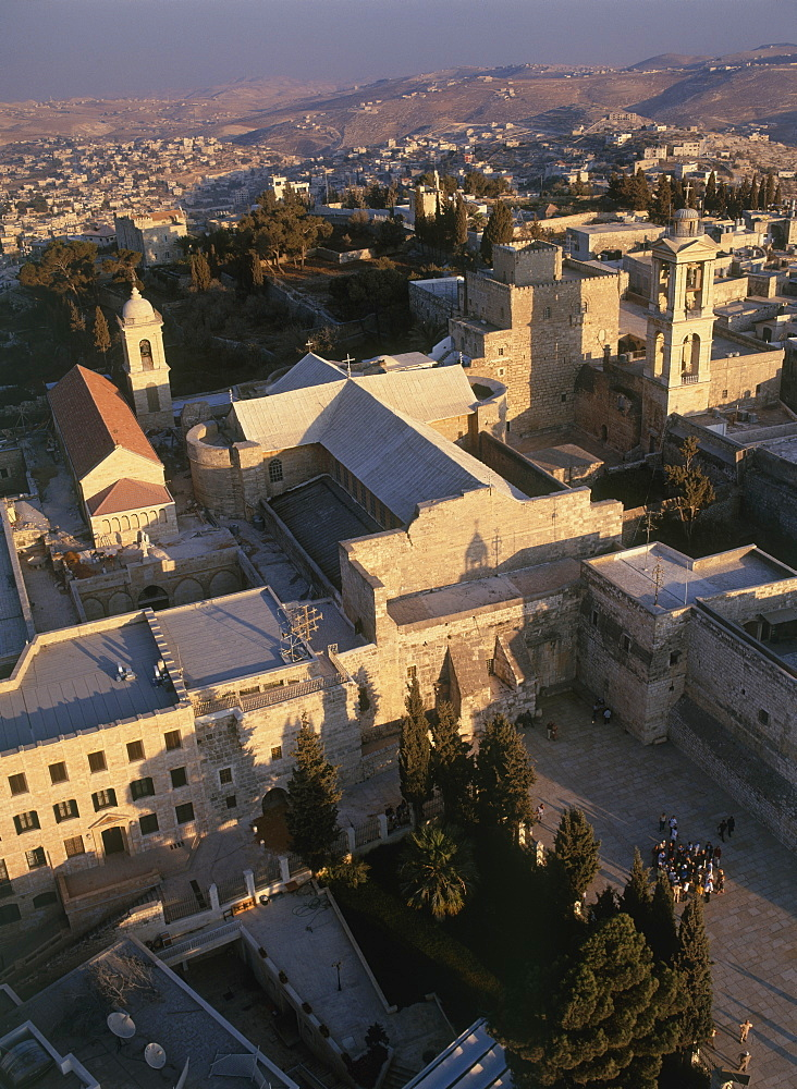 Aerial church of nativity in the modern town of Bethlehem, Israel