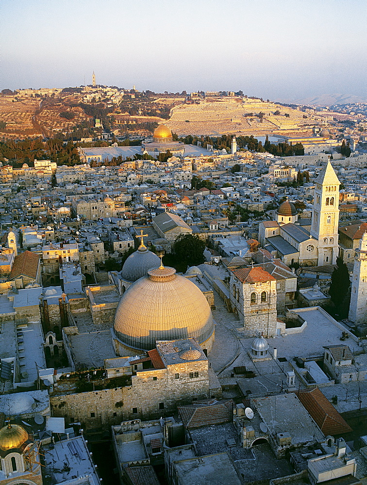 Aerial old city of Jerusalem, Israel