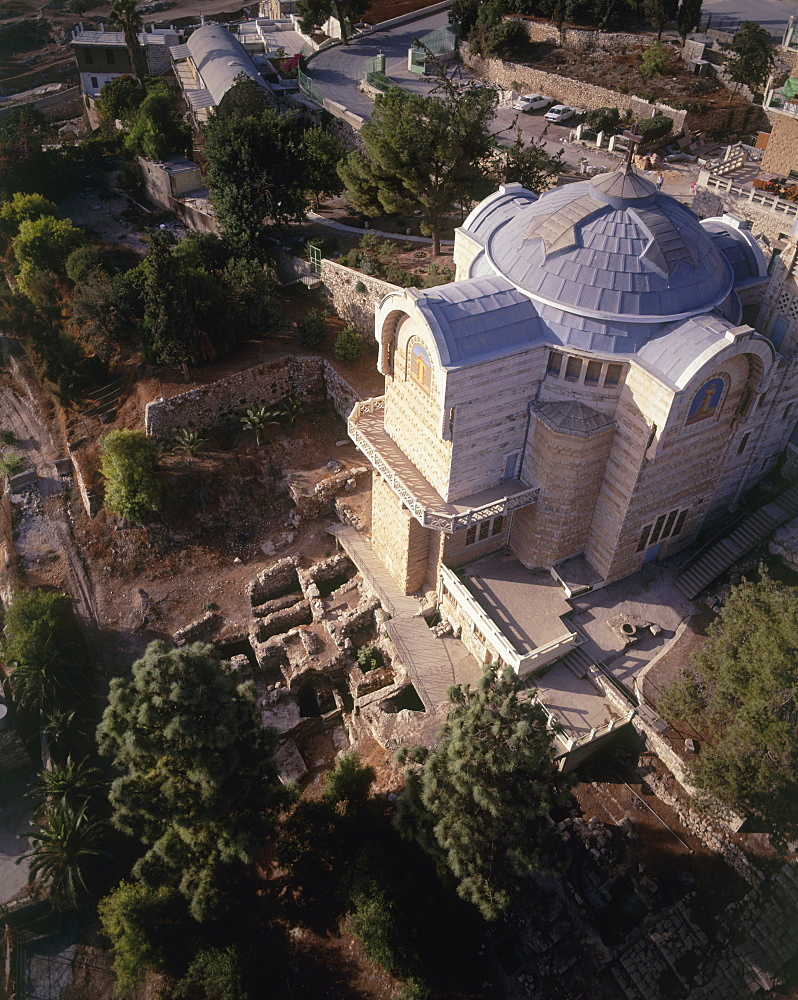 Aerial Church of Eleona on the mount of Olives, Israel