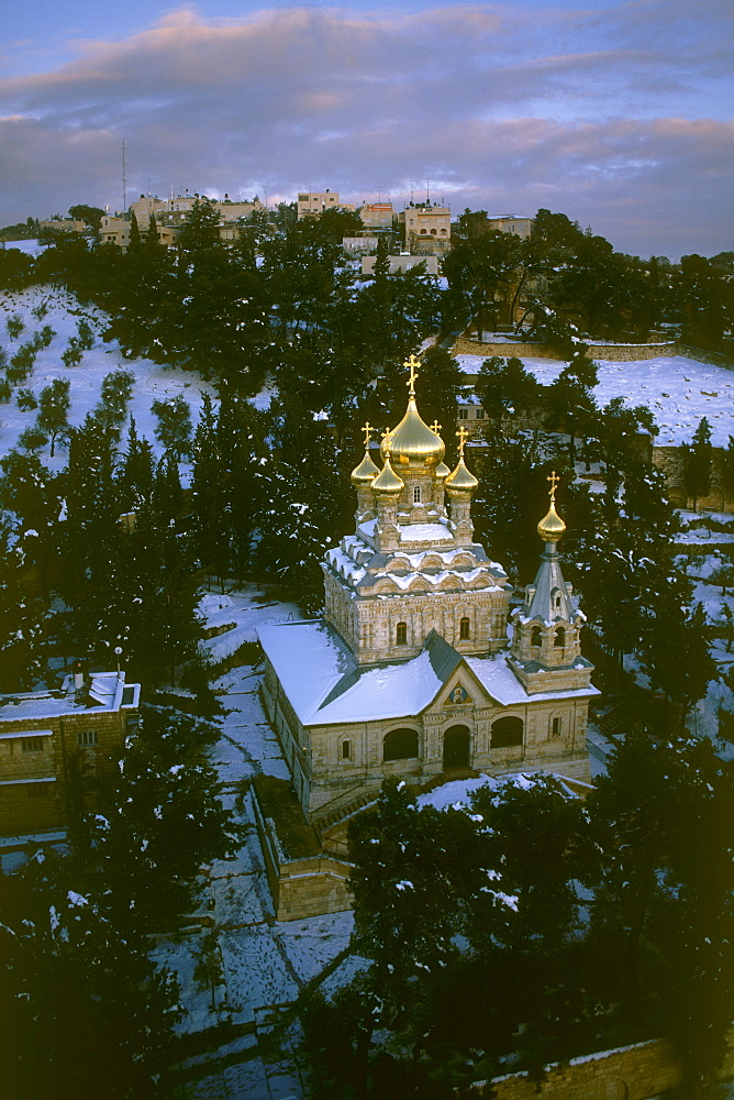 Aerial church of Maria Magdalena on the slopes of mount of the Olives at winter, Israel