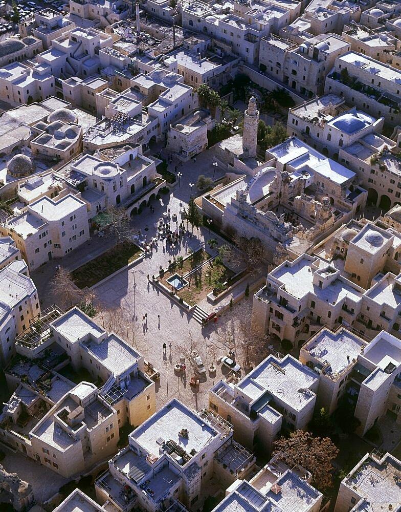 Aerial Jewish quarter in the old city of Jerusalem, Israel