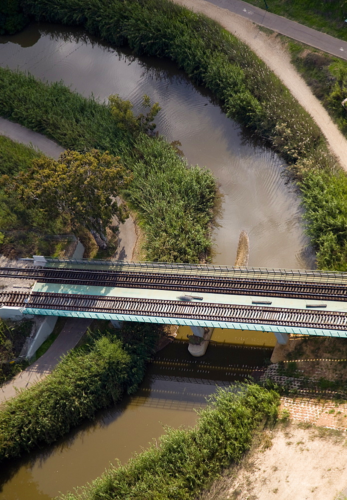 Aerial photograph of a bridge over the Yarkon stream, Israel