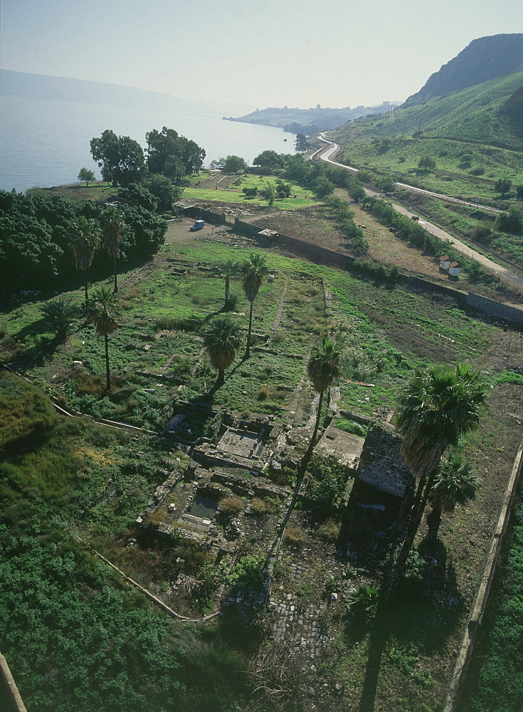 Aerial photograph of the ruins of Magdala by the Sea of Galilee, Israel
