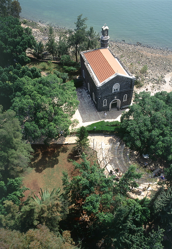Aerial photograph of the church of Tabgha by the Sea of Galilee, Israel