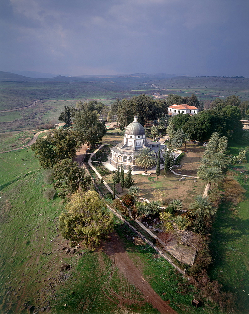 Aerial photograph of the church of the Beatitudes near the Sea of Galilee, Israel