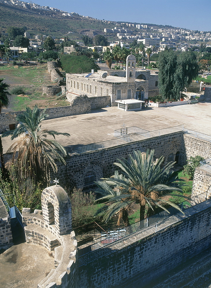 Aerial photograph of a church in the modern city of Tiberias, Israel