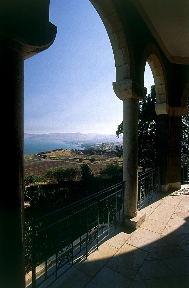 Photograph of the view of the sea of Galilee from the church of the Beatitudes, Israel