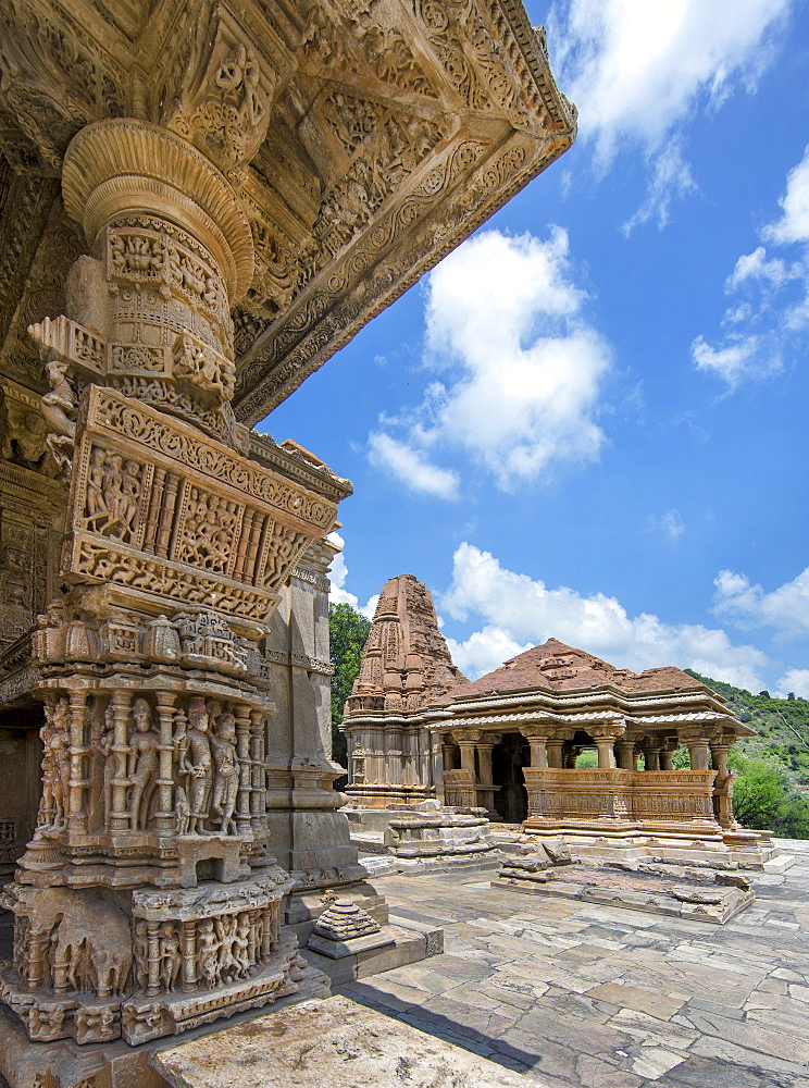 The Sas-Bahu Temples consisting of two temples and a stone archway with exquisite carvings depicting Hindu deities, near Udaipur, Rajasthan, India, Asia - 839-75
