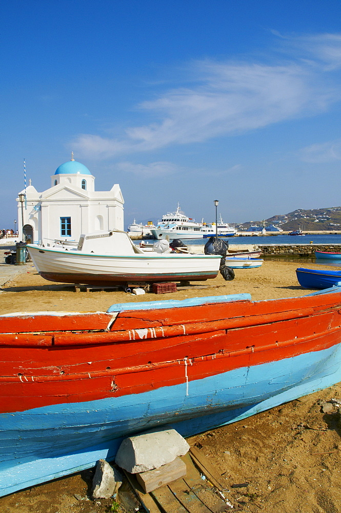 White chapel with blue dome, harbour and boats, Hora, Mykonos, Cyclades, Greek Islands, Greece, Europe