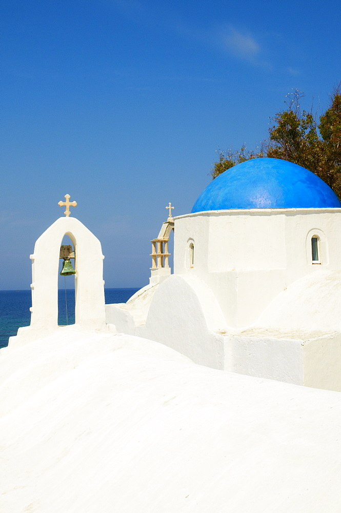 White chapel with blue dome, Hora, Mykonos, Cyclades, Greek Islands, Greece, Europe