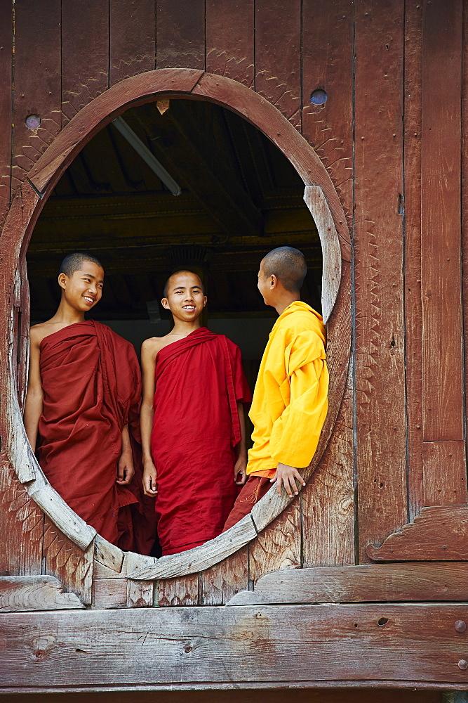 Young monks, Shweyanpyay monastery, Inle Lake, Shan State, Myanmar (Burma), Asia