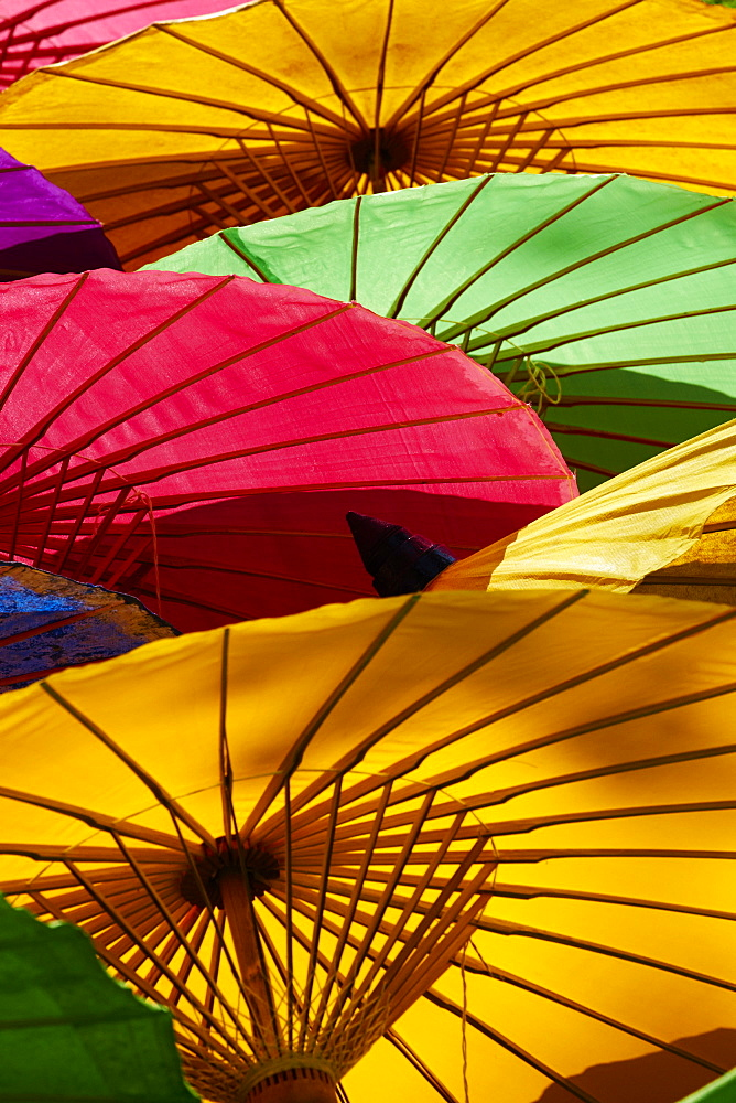 Umbrellas at Borsang Handicraft Village, Chiang Mai, Thailand, Southeast Asia, Asia - 841-1544