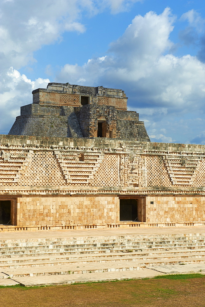 Pyramid of the Magician and Cuadrangulo de las Monjas (Nuns' Quadrangle) at Mayan archaeological site, Uxmal, UNESCO World Heritage Site, Yucatan State, Mexico, North America