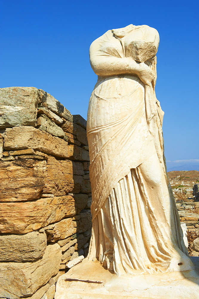 Statue of Cleopatra, House of Cleopatra, Quarter of the Theatre, archaeological site, Delos, UNESCO World Heritage Site, Cyclades Islands, Greek Islands, Greece, Europe