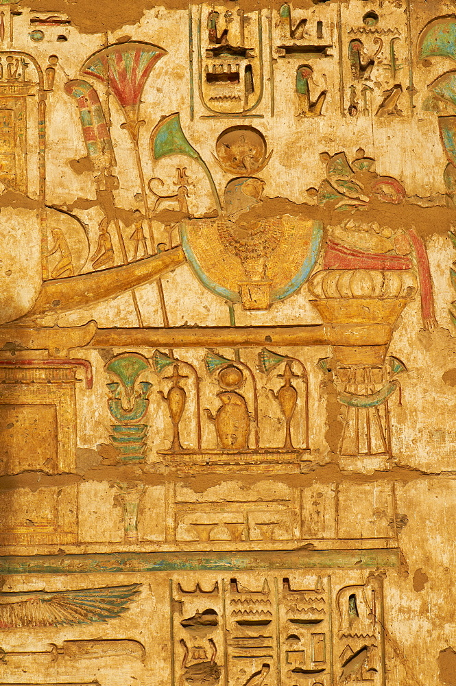 Detail, Medinet Habou temple, West Bank of the River Nile, Thebes, UNESCO World Heritage Site, Egypt, North Africa, Africa
