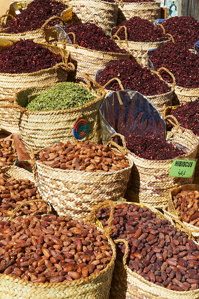 Spices and dates for sale in the market or souk of Aswan, Egypt, North Africa, Africa