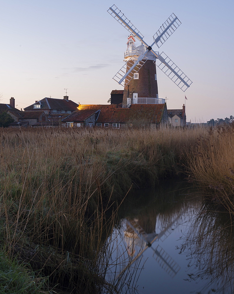 A view of Cley Mill at dawn, Cley next the Sea, Norfolk, England, United Kingdom, Europe