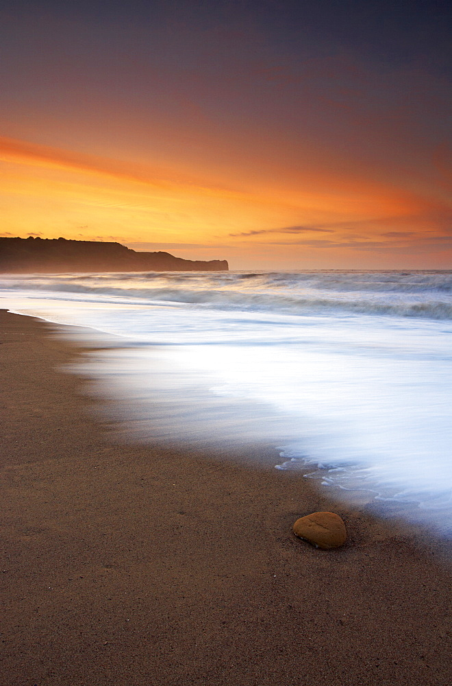 A midsummer evening on the beach at Sandsend, North Yorkshire Coast, Yorkshire, England, United Kingdom, Europe