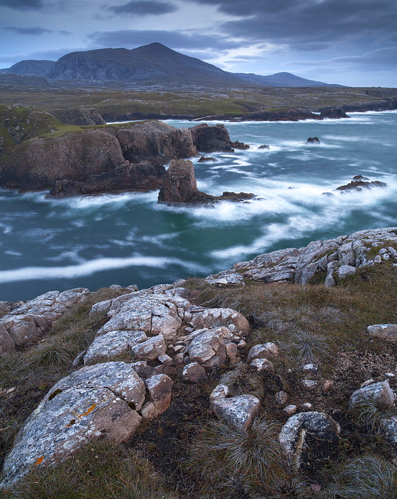 A stormy evening on the dramatic coastline at Mangersta, Isle of Lewis, Outer Hebrides, Scotland, United Kingdom, Europe - 842-543