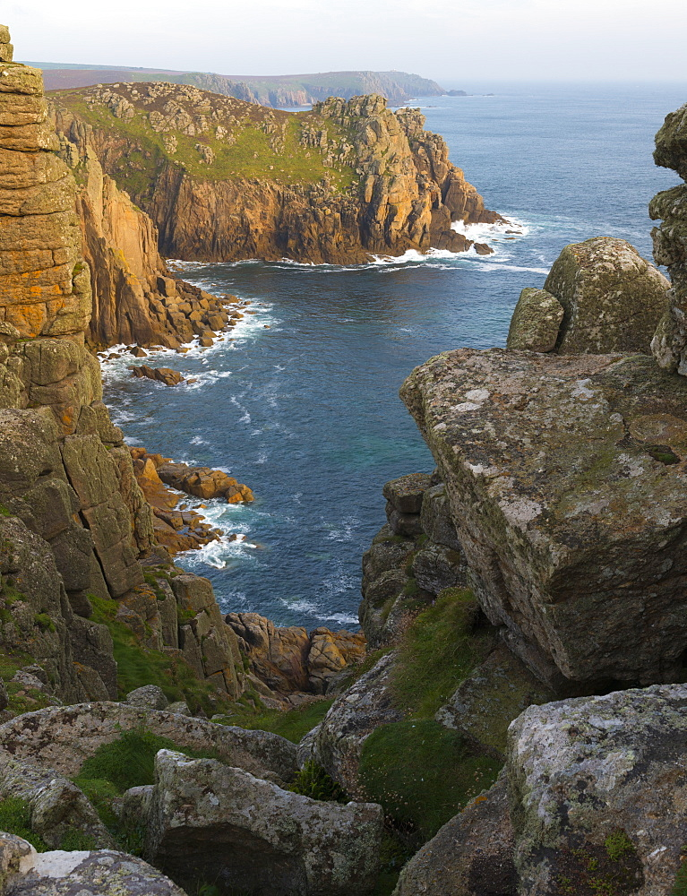 A view of Pordenack Point at Lands End, Cornwall, England, United Kingdom, Europe - 842-550