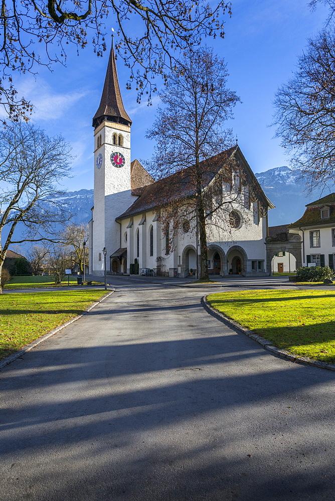 Schlosskirche Interlake, Interlaken, Jungfrau region, Bernese Oberland, Swiss Alps, Switzerland, Europe