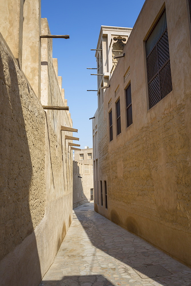 Narrow street in Al Fahidi Historical Centre, Bur Dubai, Dubai, United Arab Emirates, Middle East