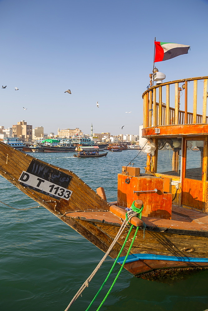 Boats on Dubai Creek, Bur Dubai, Dubai, United Arab Emirates, Middle East