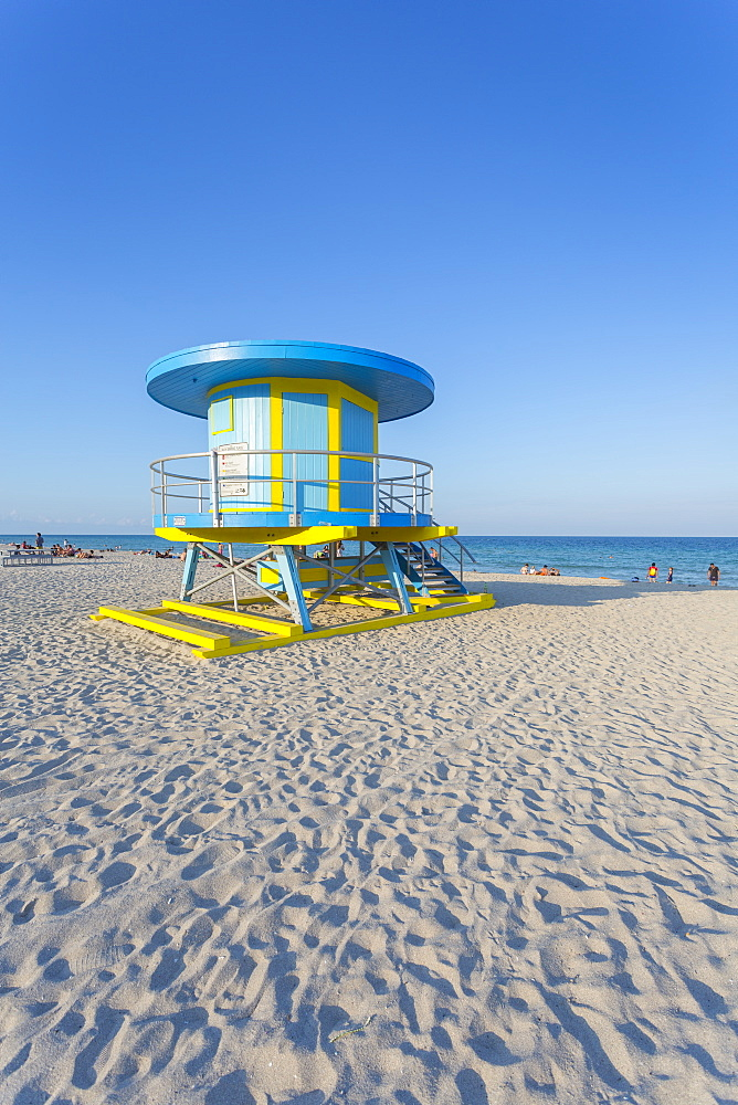 Colourful Lifeguared station on South Beach and the Atlantic Ocean, Miami Beach, Miami, Florida, United States of America, North America