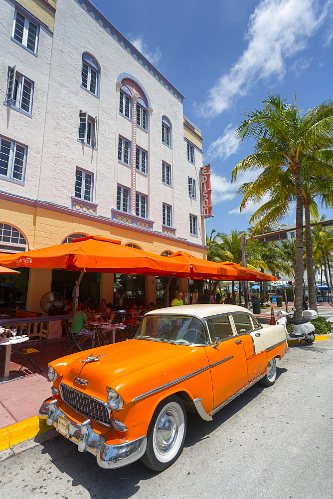 Vintage cab on Ocean Drive, South Beach, Miami Beach, Miami, Florida, United States of America, North America