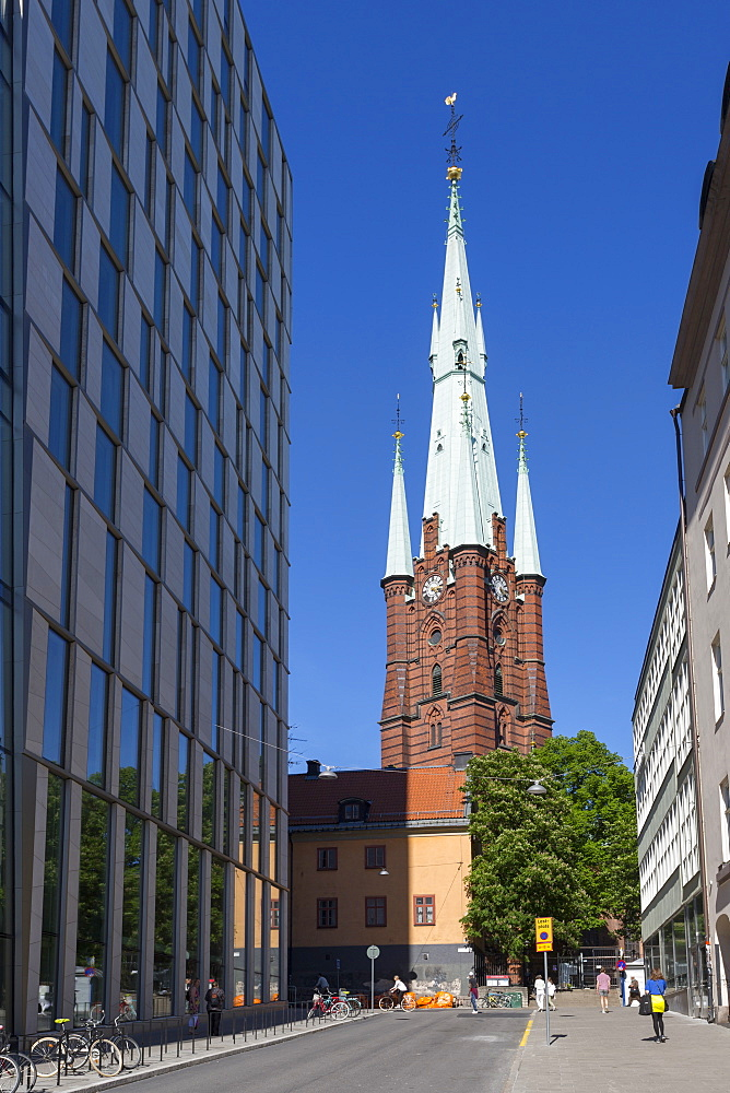View of The Church of Saint Clare or Klara Church and contemporery architecture, Stockholm, Sweden, Scandinavia, Europe