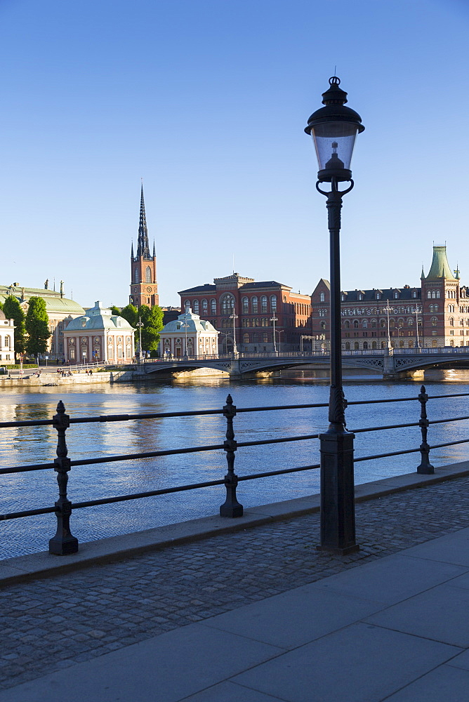 View of Riddarholmen Church from Gamla Stan, Riddarholmen, Stockholm, Sweden, Scandinavia, Europe