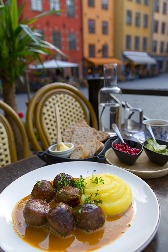 Traditional Swedish dish of Meatballs, Old Town Square, Gamla Stan, Stockholm, Sweden, Scandinavia, Europe - 844-13426