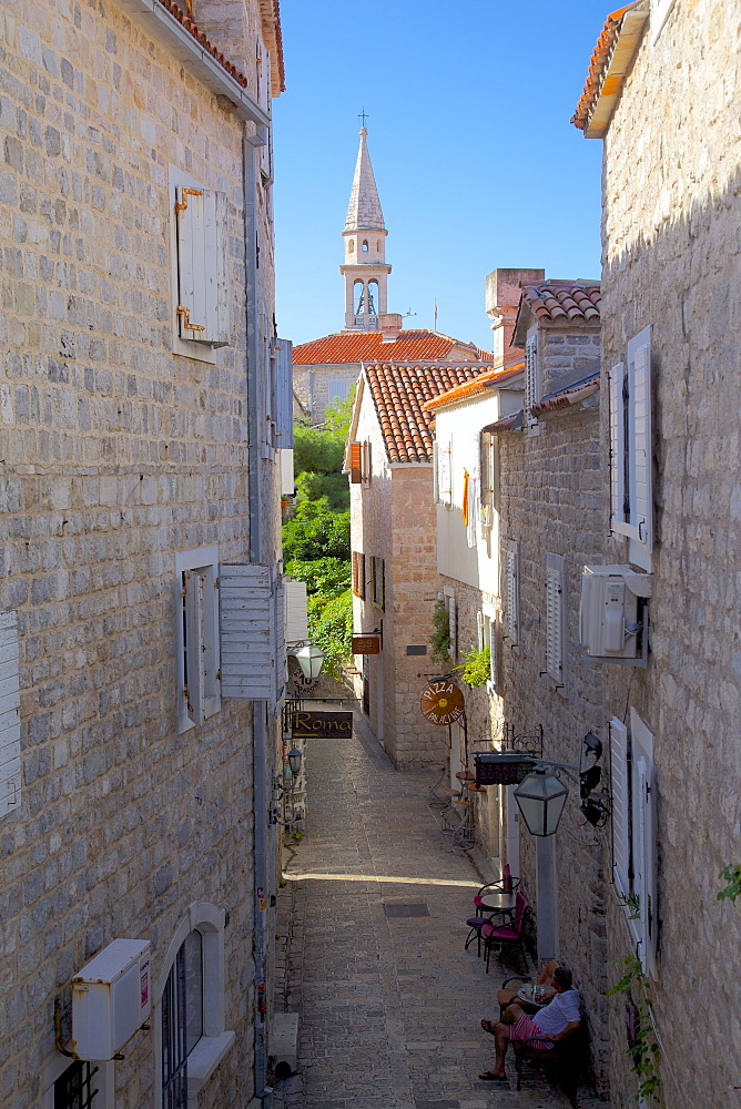 Narrow street in the Old Town, Budva, Montenegro, Europe