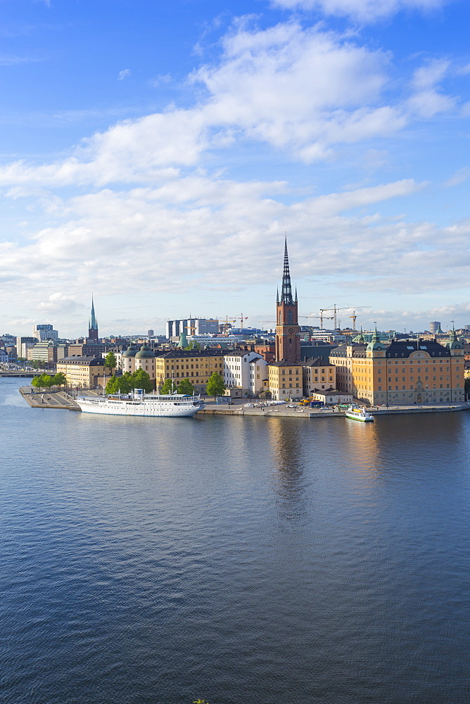 Riddarholmen Church and city skyline from Sodermalm, Stockholm, Sweden, Scandinavia, Europe