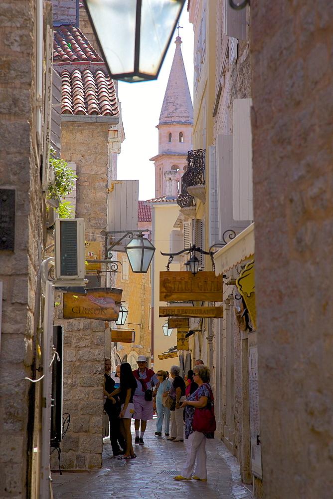 Narrow street in Budva Old Town, Budva, Montenegro, Europe