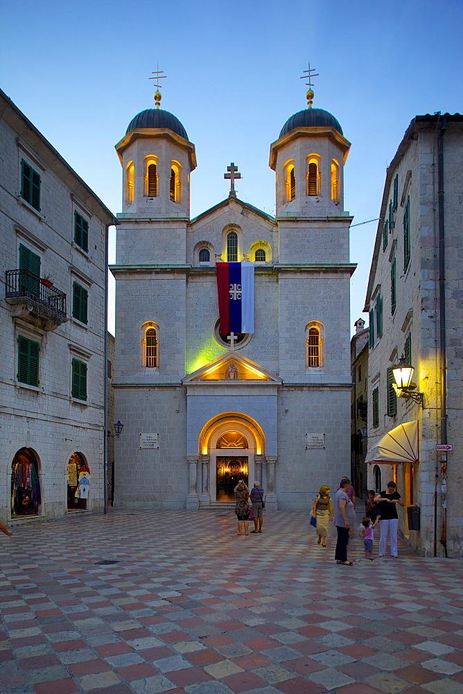St. Nicholas Serbian Orthodox Church at dusk, Old Town, UNESCO World Heritage Site, Kotor, Montenegro, Europe