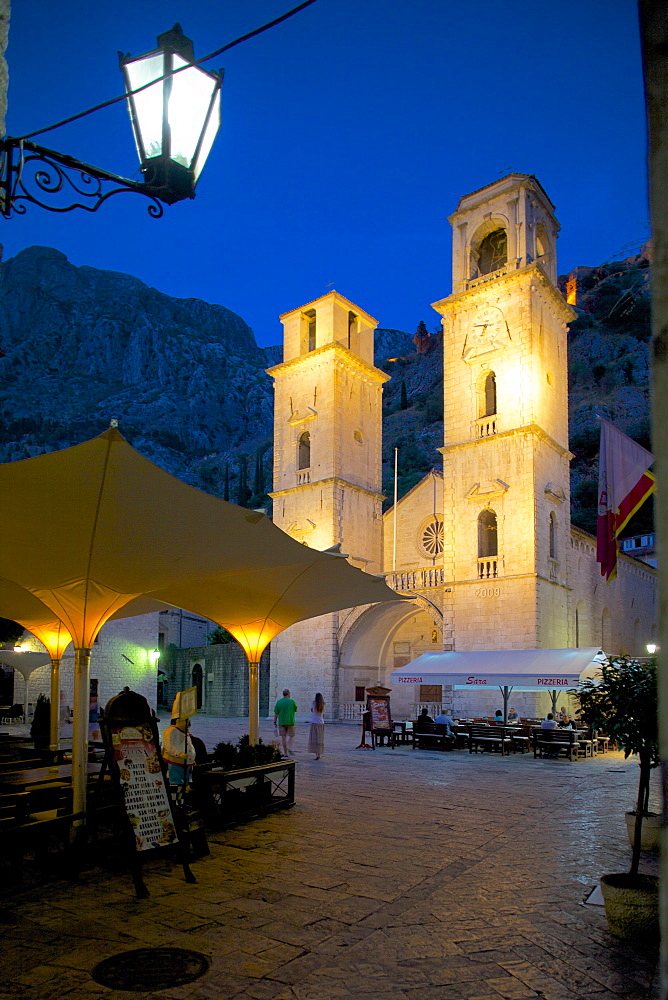 St. Tryphon Cathedral at night, Old Town, UNESCO World Heritage Site, Kotor, Montenegro, Europe