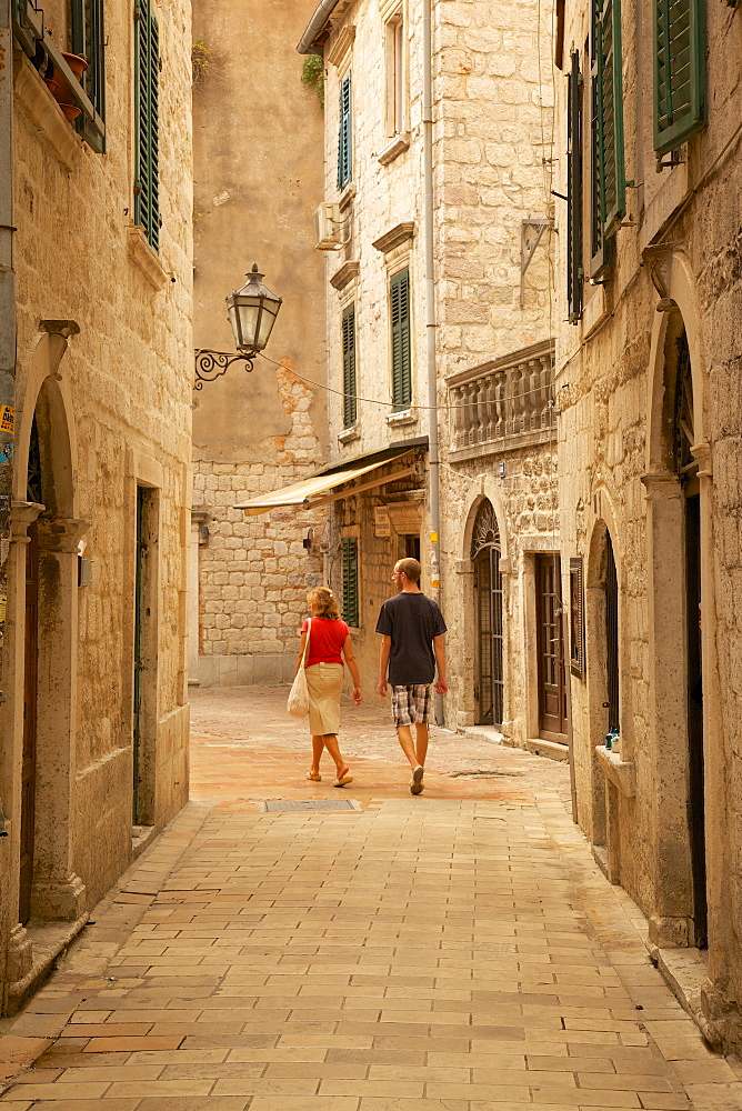 Narrow street, Old Town, Kotor, UNESCO World Heritage Site, Montenegro, Europe