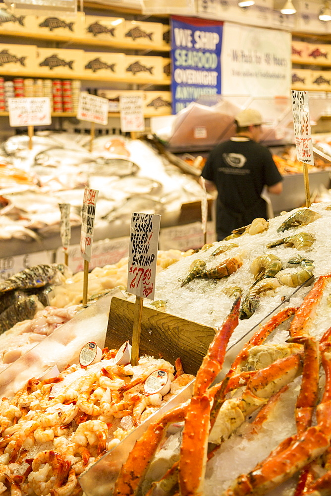 Fish stall in Farmers Market, Pike Place Market, Belltown District, Seattle, Washington State, United States of America, North America