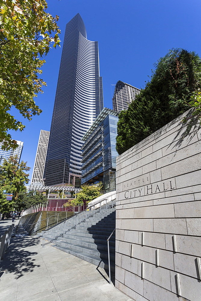 Architecture of steel and glass in the Columbia Tower and Seattle City Hall sign on 4th Avenue, Downtown, Seattle, Washington State, United States of America, North America