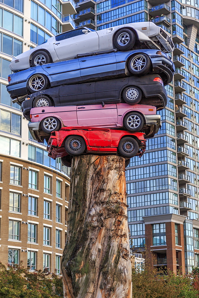 Cars stacked as modern art exhibition, Vancouver, British Columbia, Canada, North America - 844-14429