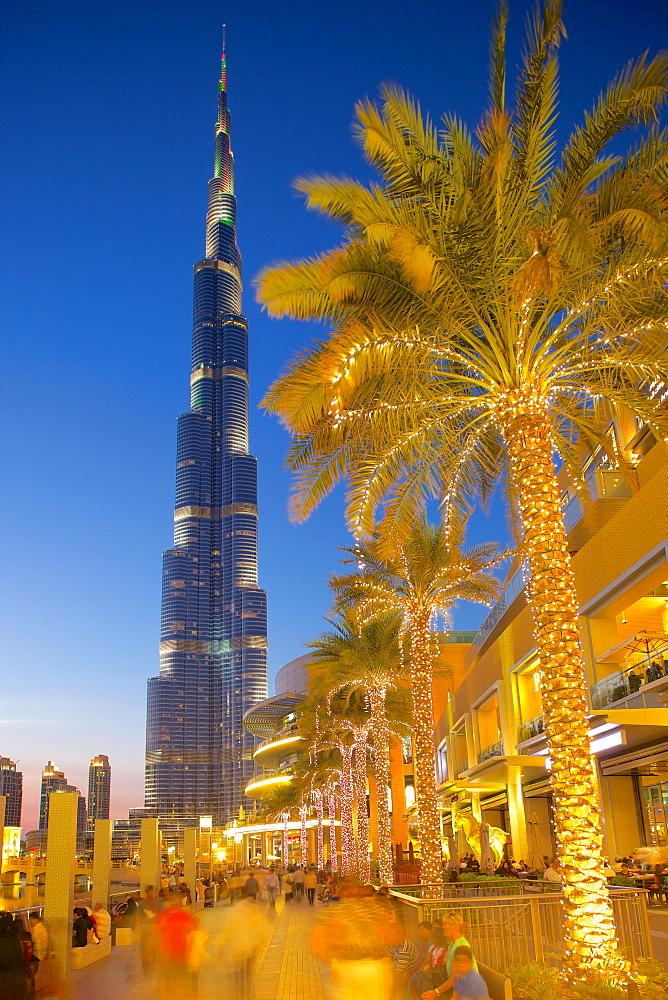Burj Khalifa and Dubai Mall at dusk, Dubai, United Arab Emirates, Middle East